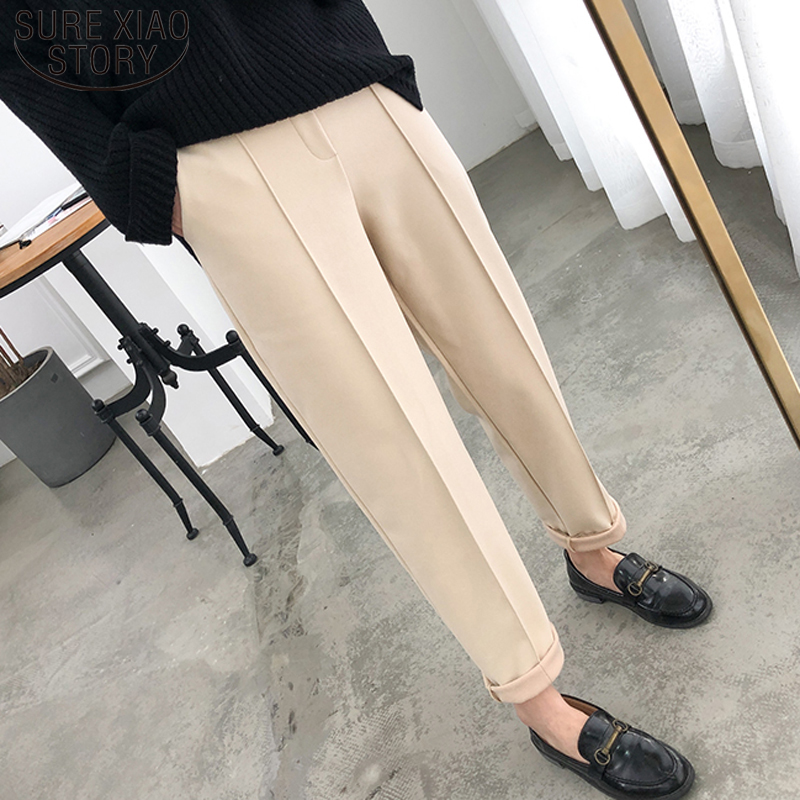 2019 Autumn Winter Plus Size OL Style Wool Female Work Suit Pant Thicken Women Pencil Pants Loose Female Trousers Capris 6648 50