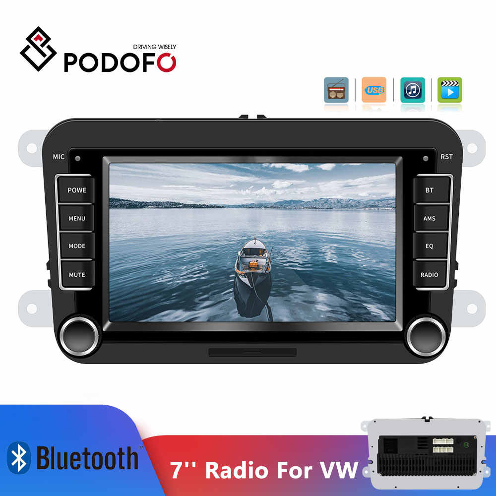 "Podofo 7 ""coche reproductor Multimedia 2din coche Radio Audio Bluetooth Touch MP5 Radio FM Android y IOS enlace espejo para VW Autoradio"