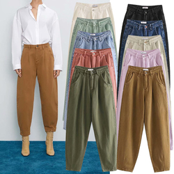 ZA 2020 new 10 colors Toppies autumn Winter cotton Pants Women High Waist Folds Pants solid color Casual trousers streetwear