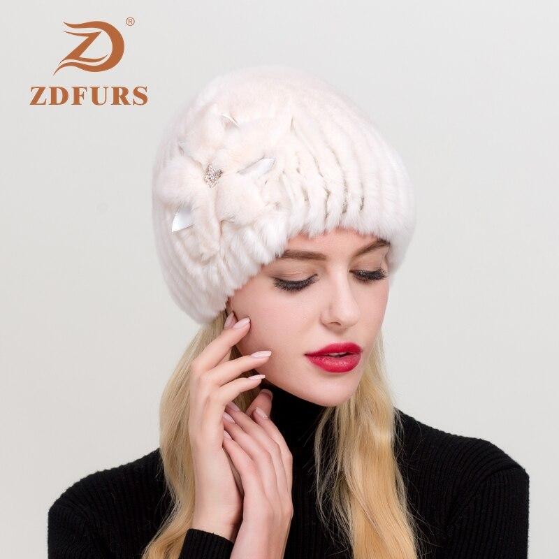 ZDFURS* 2019 Women's Genuine Rex Rabbit Fur Hats Winter Rex Rabbit Fur Beanies Striped Head Top Flower  Warm Real Fur Knit Caps