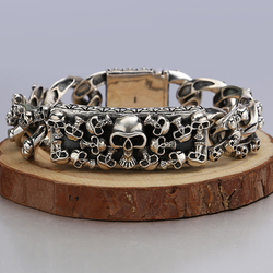 S925 sterling silver rock punk style skull bracelet exaggerated domineering mens handmade collection jewelry