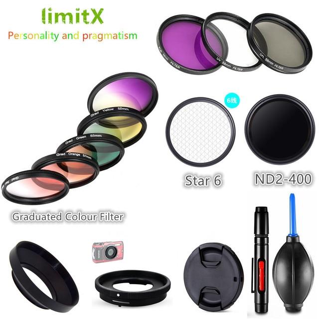 Filter set UV CPL ND FLD Graduated Colour Star & Adapter Ring Lens Hood Cap for Olympus TG 6 TG 5 TG 4 TG 3 TG 2 TG 1 Camera