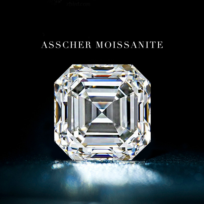 U.S. D Color ASSCHER Square Octagonal Anise Mosanite Mossex Stone Loose Diamond Ring 1 Carat Diamond Ring Naked Stone