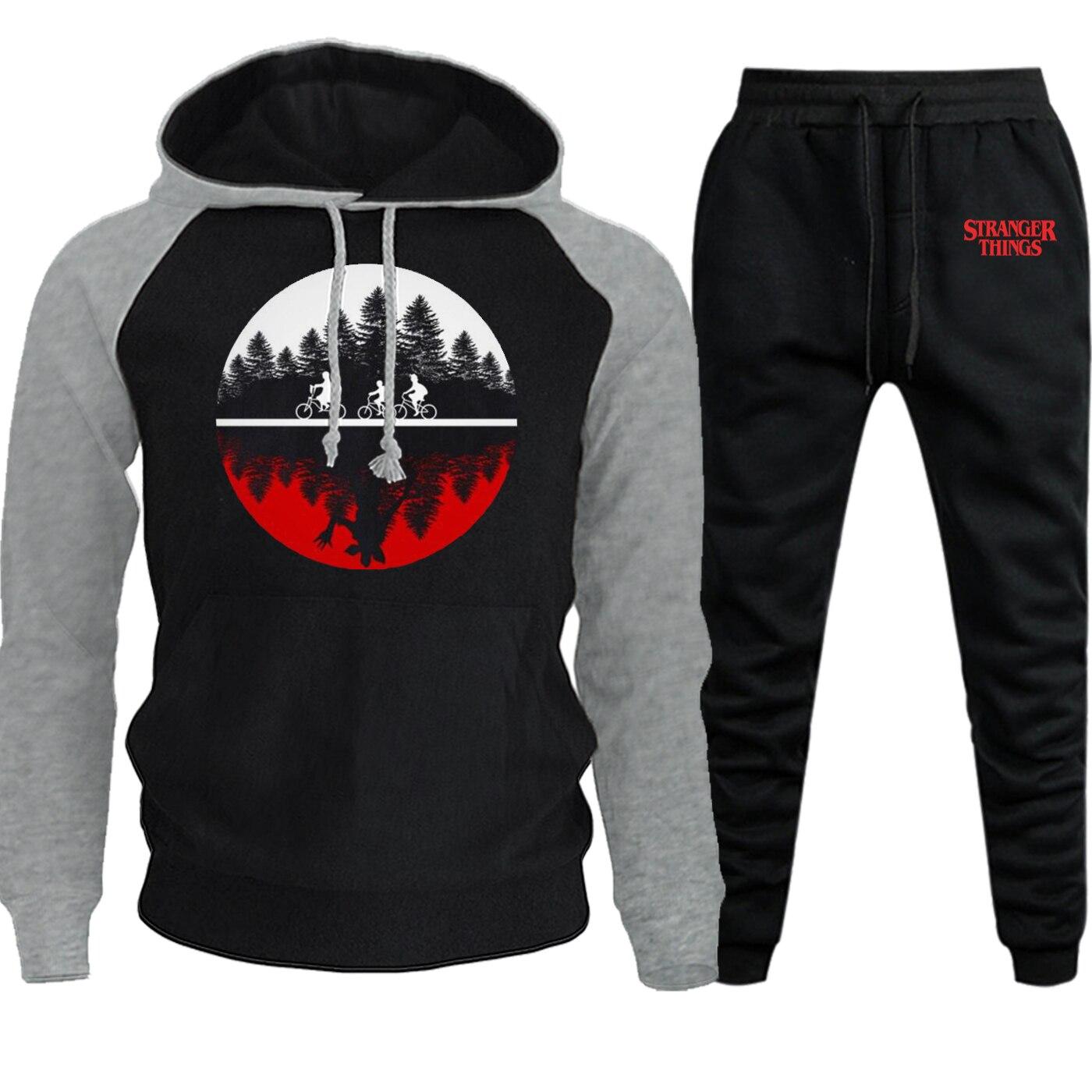Stranger Things Printed Hooded 2019 Autumn Winter Sweatshirts Raglan Mens Hoodies Funny Suit Casual Pullover+Pants 2 Piece Sets