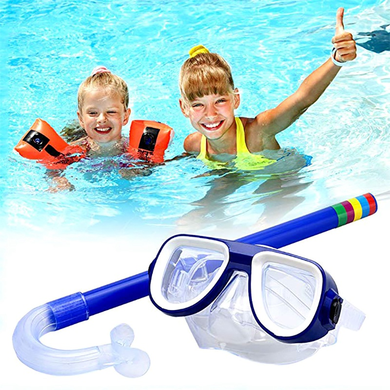 Kids Diving Goggle Mask Breathing Tube Shockproof Anti-fog Swimming Glasses Band Snorkeling Underwater Accessories Set