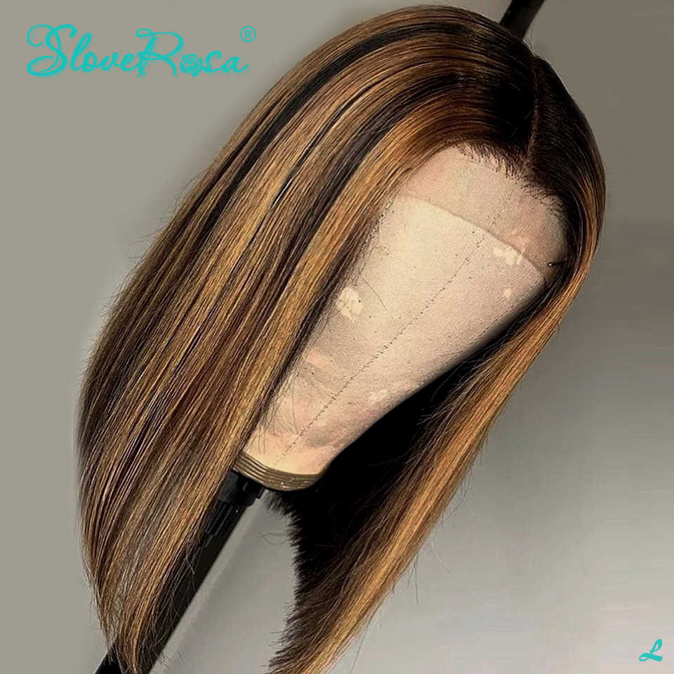 Ombre resaltar pelucas de cabello humano Frontal de encaje Bob corto de oreja a oreja, cabello brasileño Remy 360 completo, pelucas de encaje Frontal para negro 130%