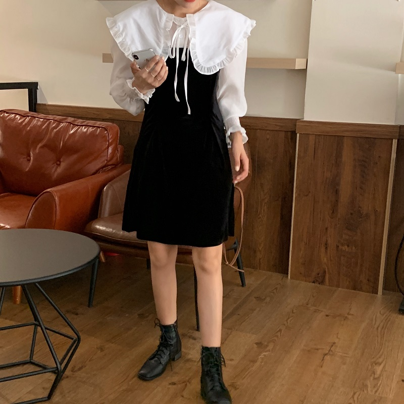H0b5d3e82ff904a628494d676d798edcfr - Autumn / Winter Puritan Collar Long Sleeves Velvet Stitching Dress
