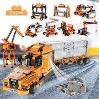 634Pcs 10 IN 1 Engineering Building Blocks City Port Truck Construction Bricks Stacking Blocks Toys For Boys Kids