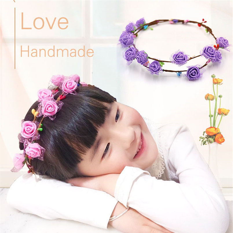 4 PCS Pink&Purple Kids DIY Handmade Garland Headdresses Girls Adjustable Head Decoration Flower Headwear Educational Crafts Toys