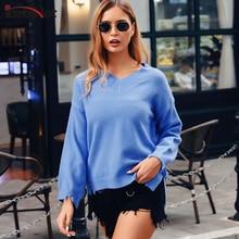 InstaHot V-neck Pullover Sweater Casual 5 Colors Hem Slit Long Sleeve Jumpers Women 2019 Autumn Winter Elegant Wholesale