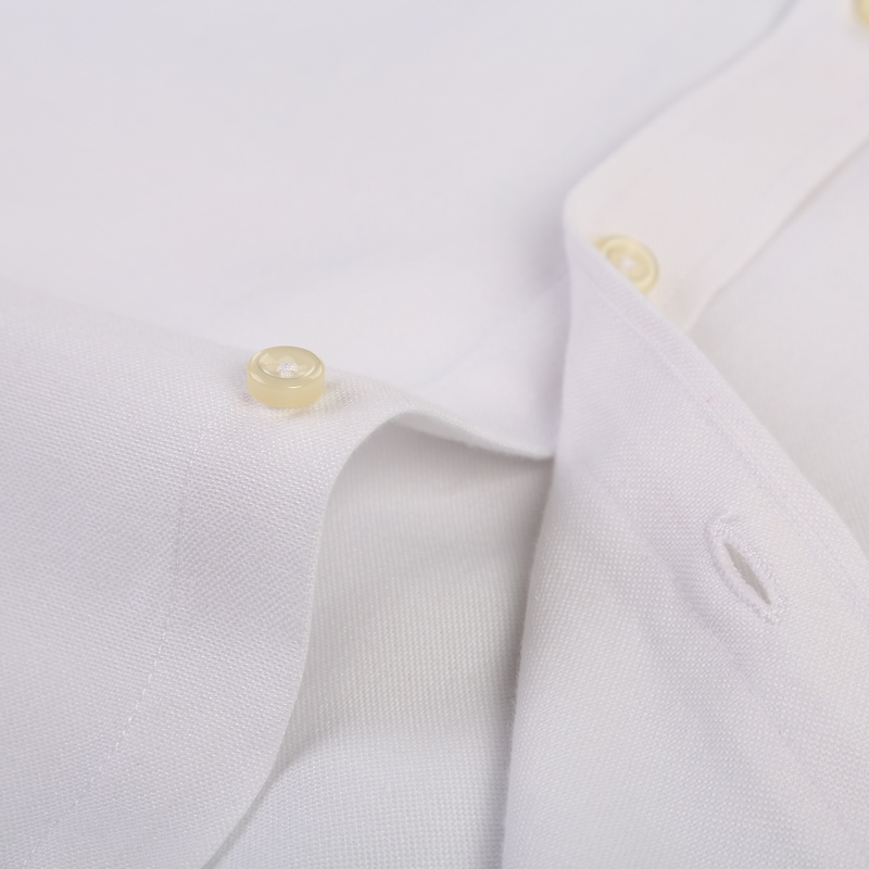 Men's Plus Size Casual Solid Oxford Dress Shirt Single Patch Pocket Long Sleeve Regular-fit Button-down Thick Shirts 5