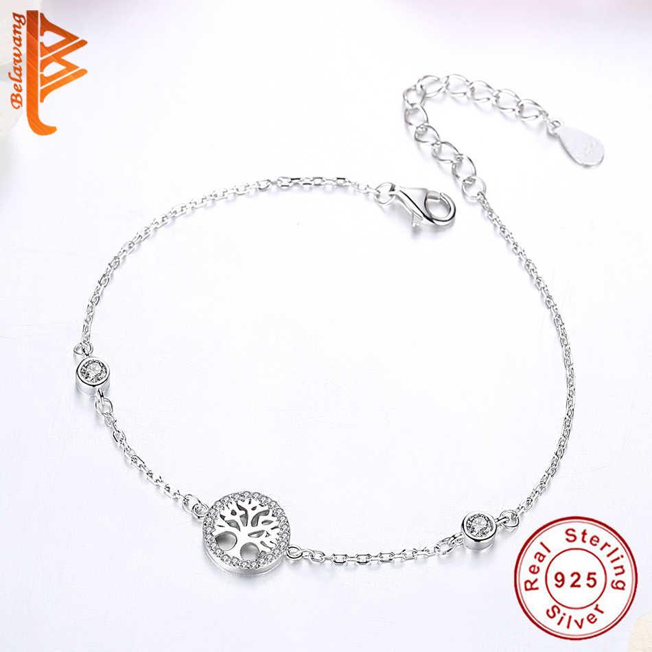 BELAWANG hurtownia gorąca sprzedaż 100% 925 srebro bransoletka drzewo życia kobiety regulowane łączenie bransoletka łańcuch biżuteria srebrna
