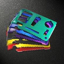 Multifuncional cartão de crédito resgate edc ferramenta aço inoxidável ao ar livre sobreviver engrenagem multiuso gadget acampamento abridor ferramentas kit 2