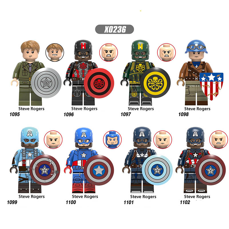 New Sale Compatible Legoeinglys Captain America Marvel Super Heroes Steve Rogers Avengers Endgame Building Block Toy Gifts X0236