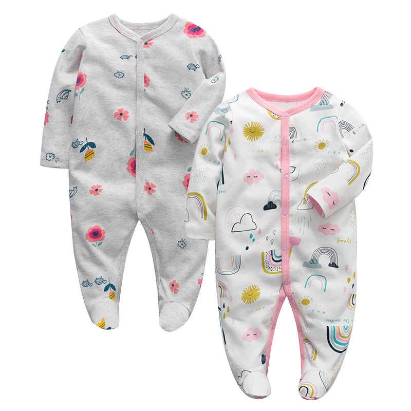 Pasgeboren Baby Kleding Baby Meisje Footed Pyjama Roupa Bebe 2 Pack Lange Mouwen 3 6 9 12 Maanden Baby Jongen jumpsuits