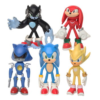 12CM 6Pcs/Set Sonic Figures Toy Pvc Toy Sonic Shadow Tails Characters Figure Toys Collectible Model Doll Toys Gift For Children недорого
