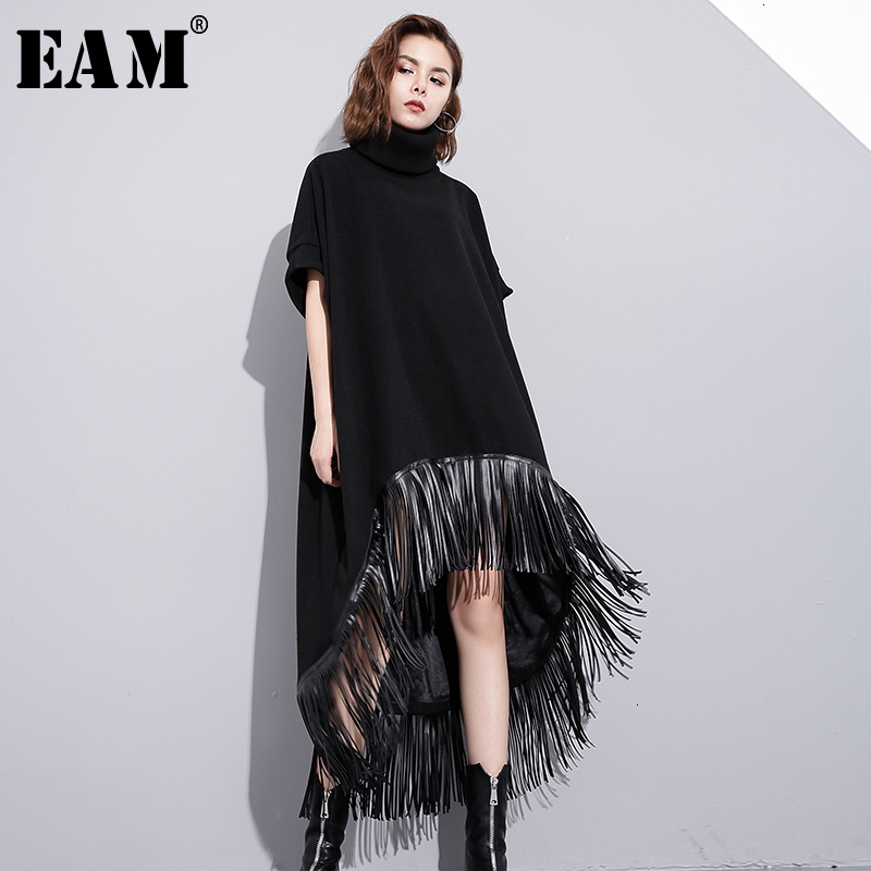 [EAM] Women Black Asymmetrical Pu Tassels Big Size Dress New High Collar Short Sleeve Loose Fit Fashion Spring Autumn 2020 1H737