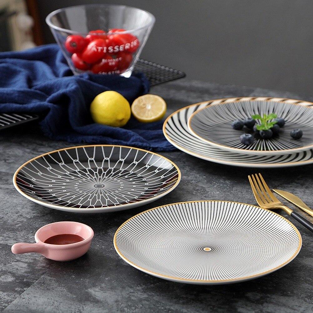 Vaisselle en céramique assiette à dessert | Vaisselle à géométrie de Phnom penh 6 pièces 8 /10 pouces, assiette à dîner en porcelaine, assiette à gâteau - 2