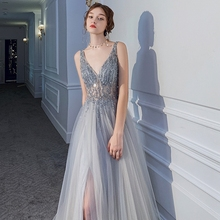 Celebrity-Gown Evening-Dress Party Sleeveless Formal New Long Sequined Backless V-Neck