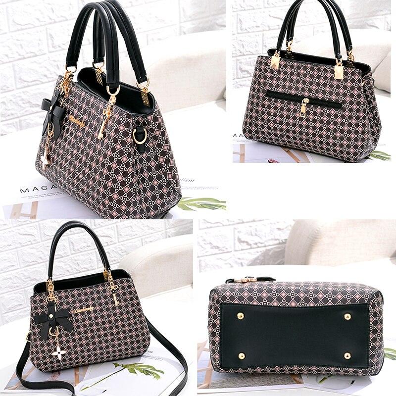 Image 3 - Beautifully bow bag crossbody women shoulder bag handbag Key  decoration Geometric pattern luxury plaid bag women leather  handbagShoulder Bags