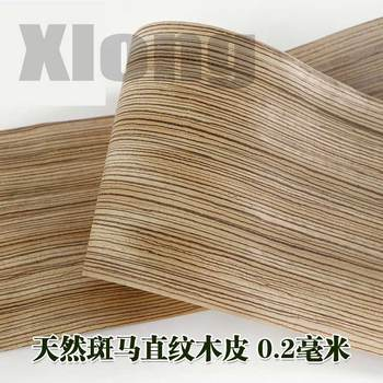 2pcs L:2.5Meters Width:170mm Thickness:0.2mm Natural Zebra Straight Grain Wood Veneersolid Black Gold