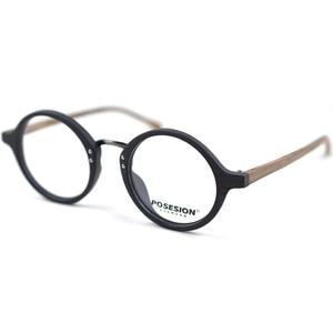 Image 3 - HDCRAFTER Optical Glasses Frame Men Round Wood Clear Lens Eyeglasses Frames Prescription Recipe Men Reading Glasses Spectacles