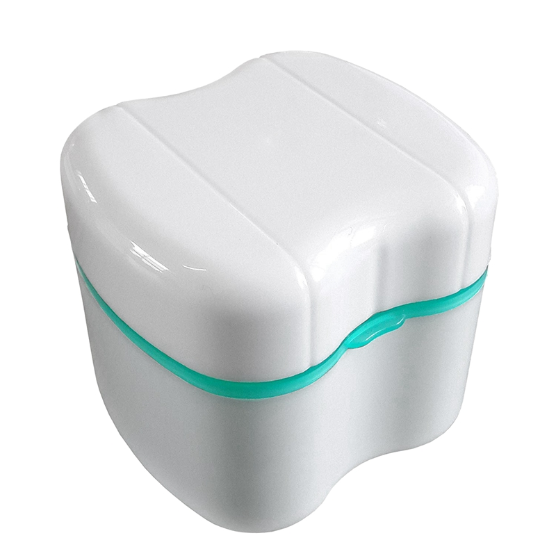 Denture Box With Specially Designed Holder For Rinse Basket, Great For Dental Care, Easy To Open, Store And Retrieve