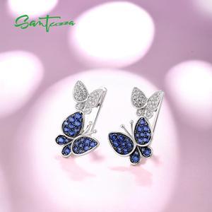 Image 4 - SANTUZZAเงินต่างหูผีเสื้อสำหรับผู้หญิงสีฟ้าสีขาวCubic Zirconiaต่างหูผู้หญิงบริสุทธิ์แท้925