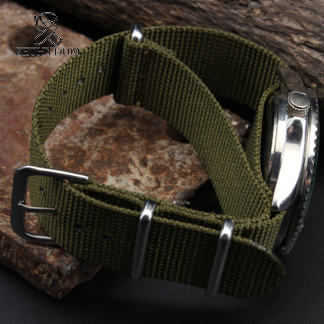 Simple and pure color Outdoor sport Nylon canvas watch belt Waterproof and sweat proof 16 18 20 22 24 Military Watch male strap 3