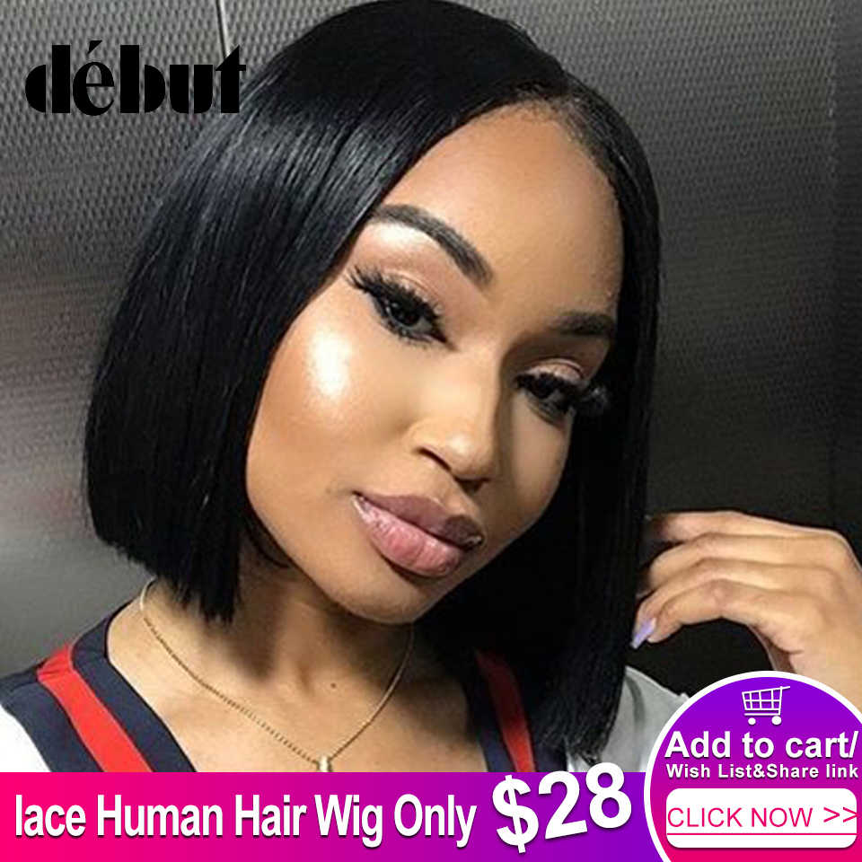 Debut Hair Short Wigs For Black Women Brazilian Remy Straight Bob Human Hair Wigs Part Lace Wigs Free Shipping