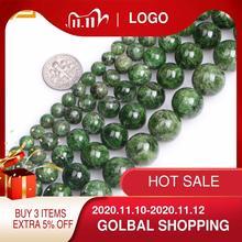Gem Binnen Aa Grade 7 14Mm Natuursteen Kralen Ronde Green Semi Precious Diopside Kralen Voor Sieraden maken 15Inch Diy Kralen Gift