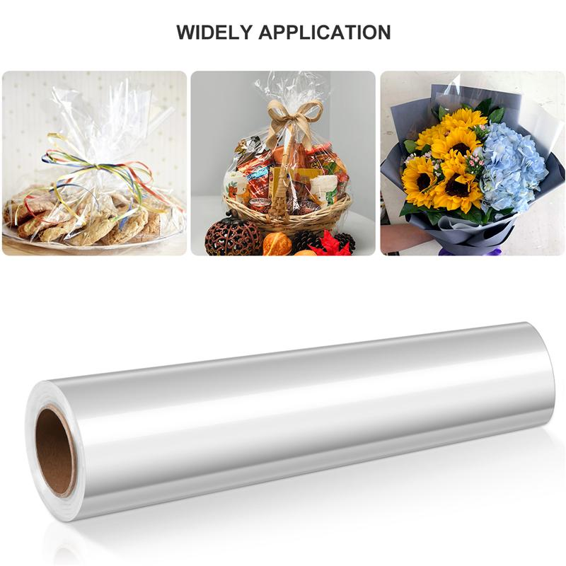 98Ft X 16IN 2.5 Mil Thick NUOBESTY Clear Cellophane Wrap Roll DIY White Dot Crystal Wrappings Paper for Gifts Flowers Baskets Arts Crafts