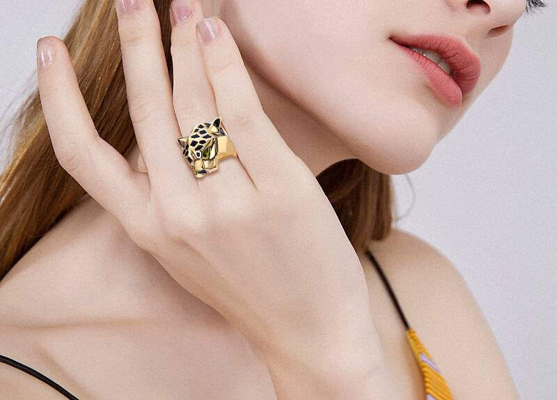 Tuliper Leopard Ring Panther Bague Cocktail кольцо Animal - Bijuterii de moda - Fotografie 4
