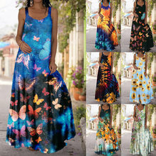 Summer new plus size women's dress with suspenders, slim, slim, long and large butterfly print dress