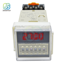 лучшая цена AC 220V DH48S-S Repeat Cycle Programmable Double Time Delay Relay Timer with Socket Base