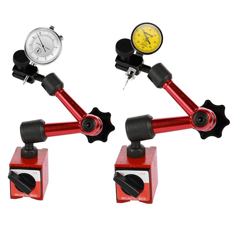 Mini Relógio Comparador Alavancagem À Prova D' Água À Prova de Choque Suporte Base Do Suporte Magnético Indicador de Teste Dial Relógio Comparador 0.01 milímetros
