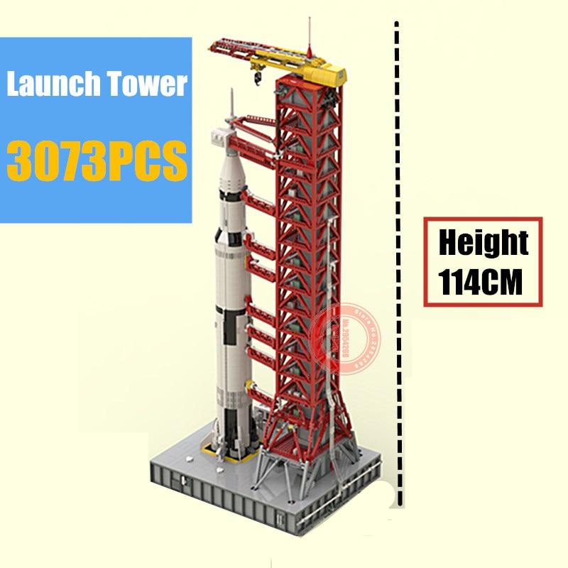 Nova MOC 114 CENTÍMETROS Alta Umbilical Espacial Apollo Saturno-V Lançamento Torre Torre Fit Legoings Técnica PARA 21309 Edifício blocos Tijolos Presente