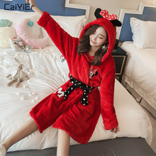 Caiyier Women Flannel Bathrobe Cute Mickey Print Coral Velvet Night Dress Thick Warm Sleepwear Winter 2019 Cartoon Female Robe