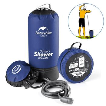 11L Inflatable Shower Bag With Foot Pump Pressure Bathing Water Bag For Outdoor Travel Hiking Camping Beach Washing Cars Tools