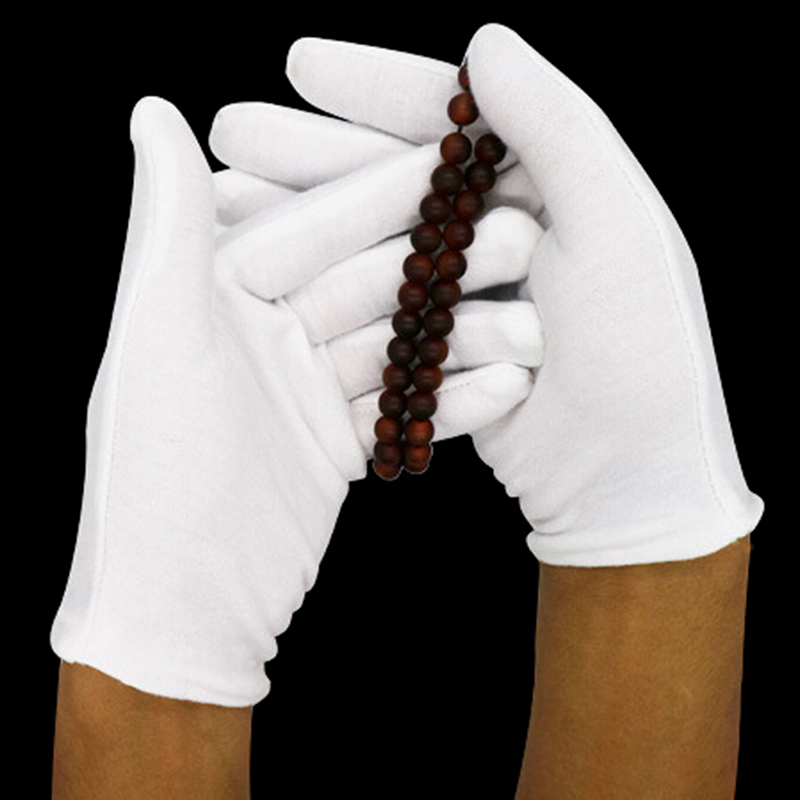 6 Pairs/lot White Cotton Ceremonial Gloves For Male Female Serving/ Waiters/ Drivers/ Jewelry Gloves