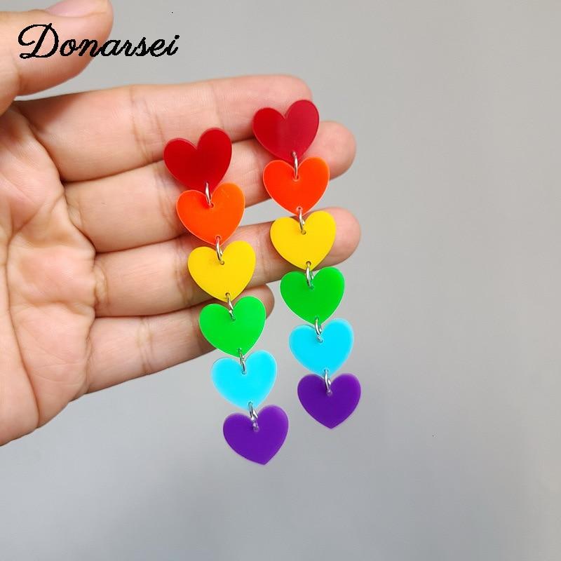 Donarsei 2020 новые стильные Разноцветные длинные акриловые серьги с подвеской в виде звезды сердца женщин заявление серьги вечерние