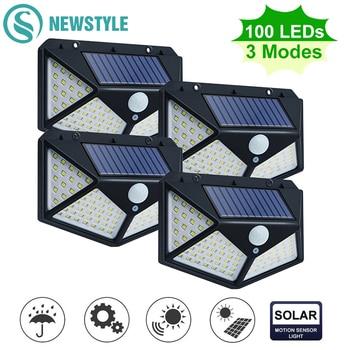 100 LED Solar Powered Light 3 Modes PIR Motion Sensor Solar Wall Lamp Outdoor Waterproof Garden Yard Security Lights