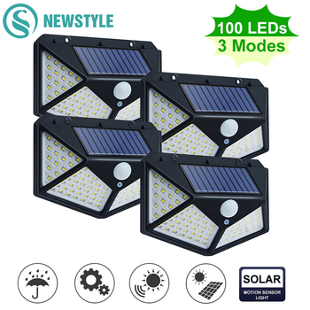 100 LED Solar Powered Light 3 Modes PIR Motion Sensor Solar Wall Lamp Outdoor Waterproof Garden Yard Security Lights