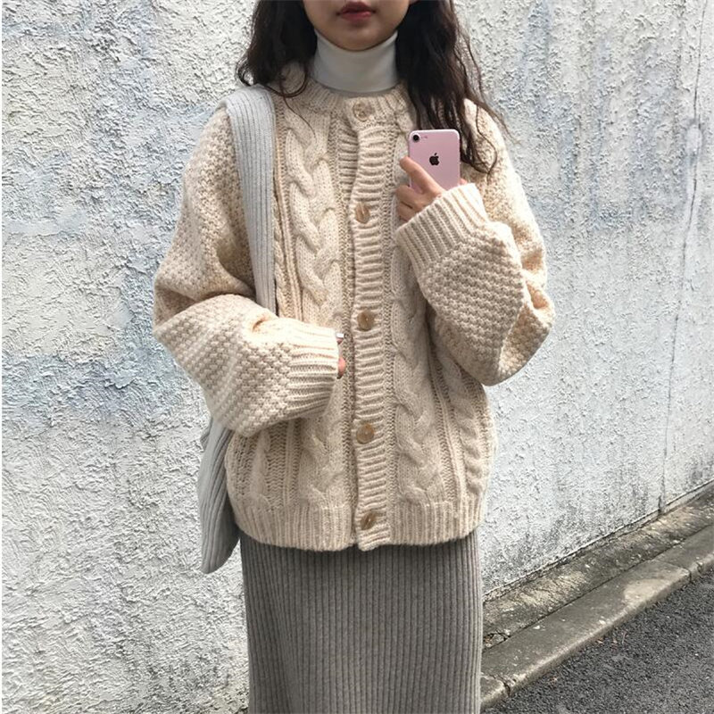 Alien Kitty Retro Chic O-Neck Gentle Twisted All-Match Elegant Autumn Women Sweet High Quality Fashion Simple Female Sweaters