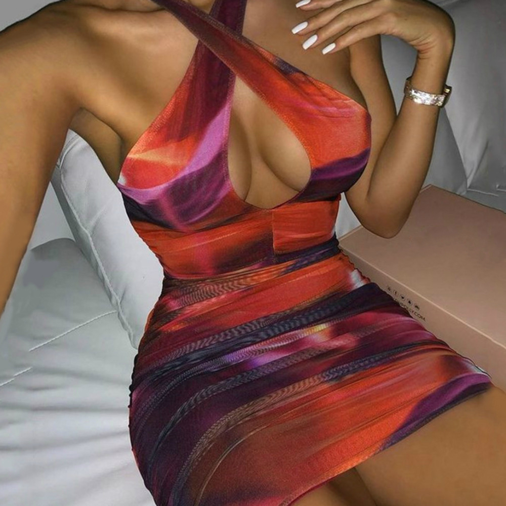 Orange Bodycon Ruched Halterneck Mesh Keyhole Mini Dress