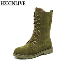 HZXINLIVE Genuine Leather Snow Boots Winter Warm Plush Shoes Woman Mid-Calf Botas Mujer Pigskin Rubber Ladies Platform Booties(China)