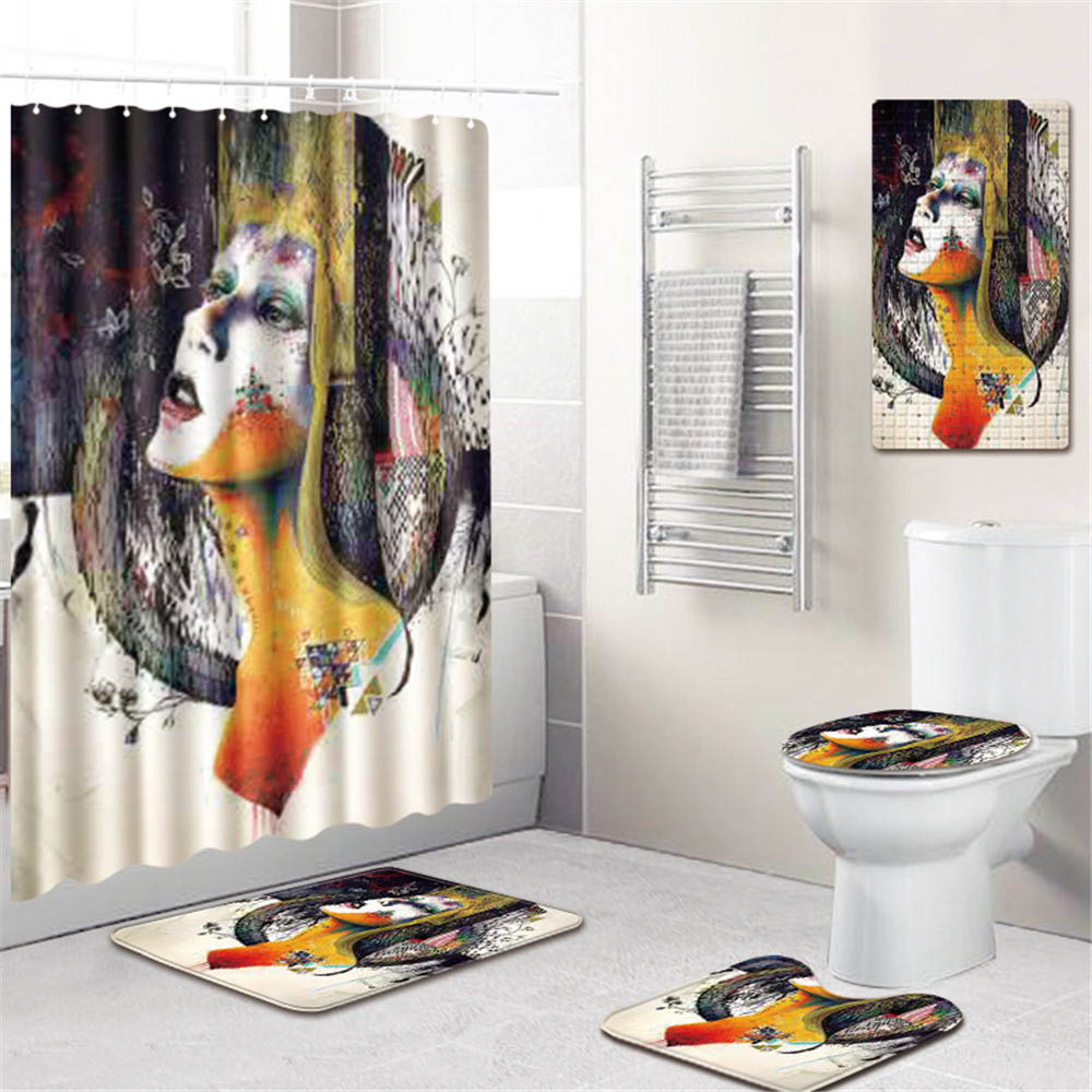 5 шт./компл. 3d женские Шторки для душа с принтом ванная комната стойка для тряпок крышка унитаза ПВХ нескользящий коврик для ванной коврик крючки домашний декор - 4