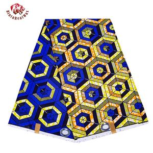 6 Yards/lot African Fabric Geometric Patterns Ankara Polyester Farbic For Sewing Wax Print Fabric by the Yard Designer FP6258