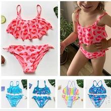 Girls Swimwear Bikini-Set Swimming-Suit Two-Pieces Children-St108mix Kids Infantil