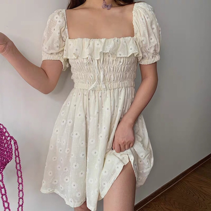 Sexy Ruffles Women Puffed Sleeves Dress Square Neck Bow Slim Waist Floral Dresses New 2020 Summer Girls Princess Pleated Dresses 3